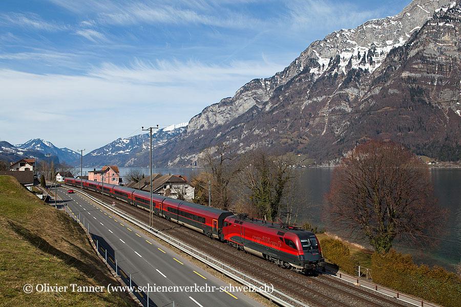 Br 1116 204 mit RailJet Zürich – Wien – Budapest