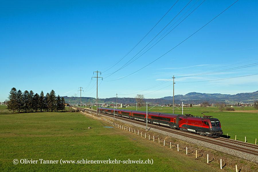 Br 1116 207 mit RailJet Zürich – Wien – Budapest