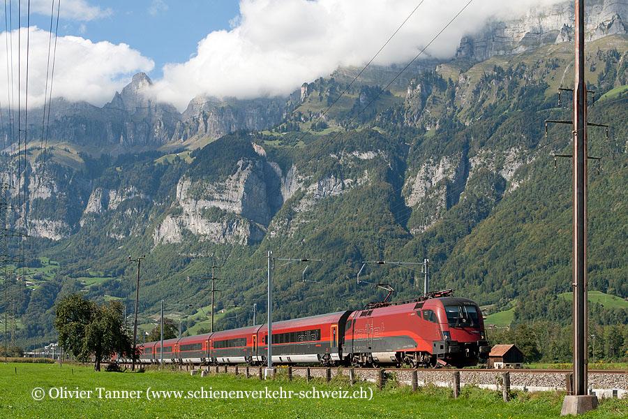 Br 1116 208 und Br 1116 214 mit RailJet Zürich – Wien