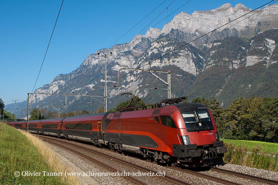 Br 1116 221 und Br 1116 209 mit RailJet Zürich – Wien