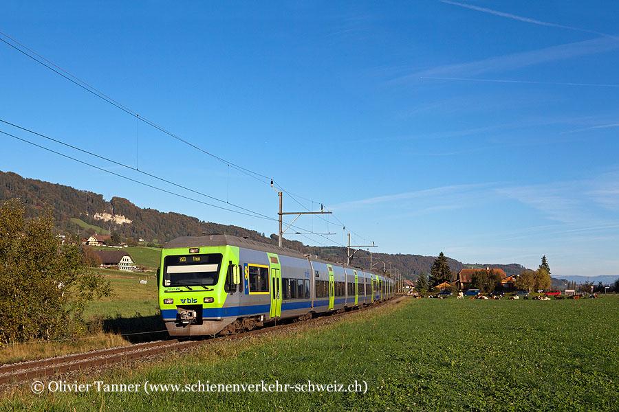 RABe 525 024 und RABe 525 022 als S44 Sumiswald-Grünen/Wiler – Burgdorf – Bern – Belp – Thun
