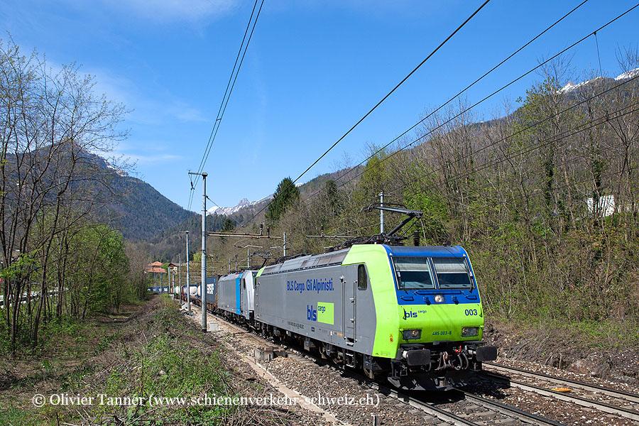 Re 485 003 und Br 186 251 (angemietet von Railpool) mit einem Transitgüterzug