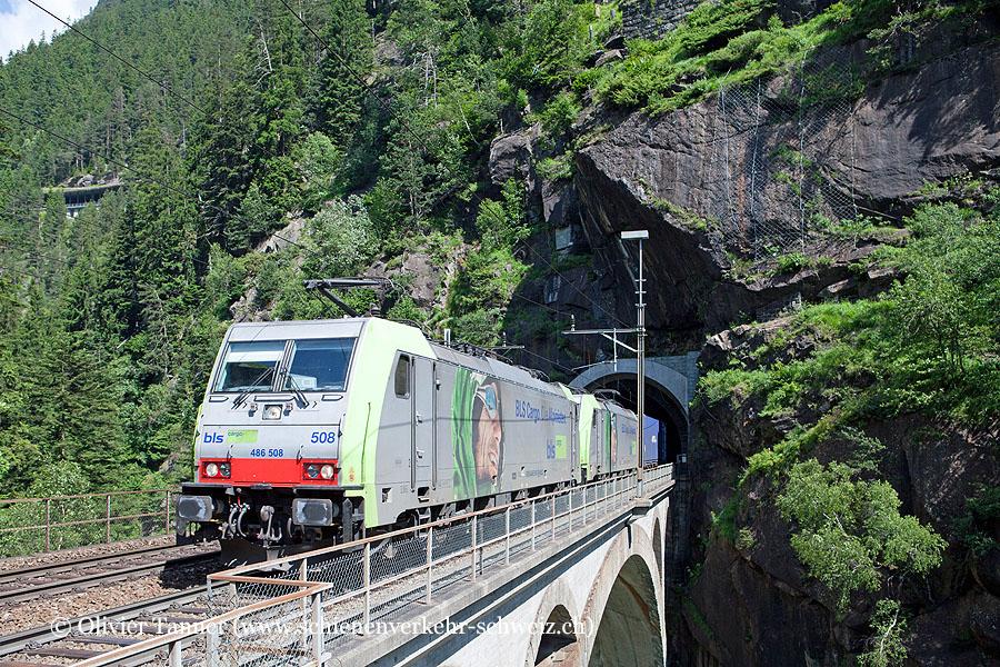 Re 486 508 und Re 486 507 mit einem Transitgüterzug