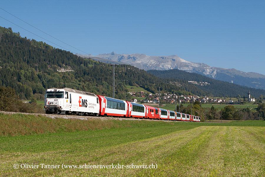 Ge 4/4''' 643 ''Ems-Chemie'' mit Glacier Express