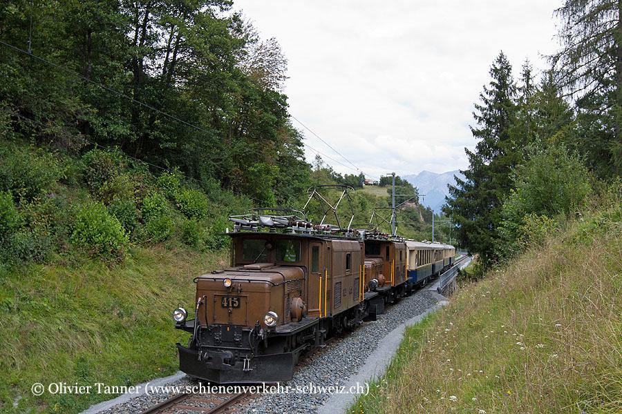 Ge 6/6' 415 und Ge 6/6' 414 auf der Jubiläums-Nostalgierundfahrt