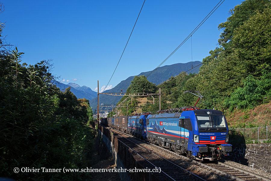Br 193 522, Br 193 521 und Re 4/4'' 11335 als Schublok mit einem Transitgüterzug
