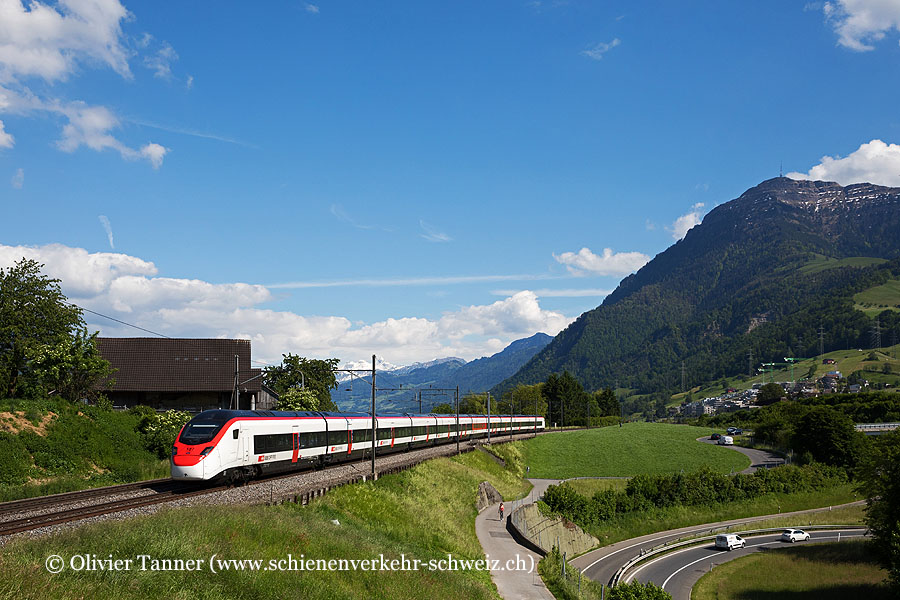 Giruno RABe 501 003 auf Ertüchtigungsfahrt von Lugano nach Basel