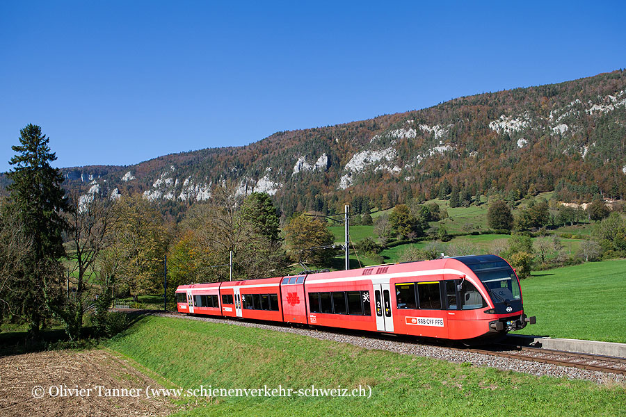 RABe 526 262 als Regio Biel/Bienne – Sonceboz-Sombeval – Solothurn