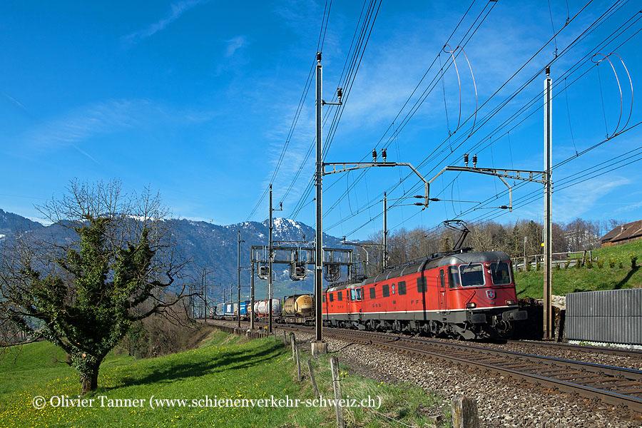 Re 6/6 11678 und Re 4/4'' 11349 mit einem Transitgüterzug