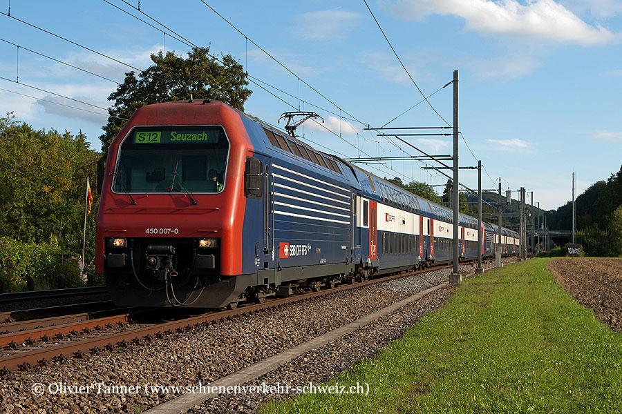 Re 450 007 und Re 450 012 als S12 Brugg – Baden – Zürich HB – Zürich Stadelhofen – Winterthur – Seuzach