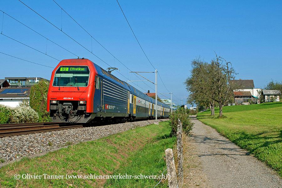 Re 450 014 als S2 Ziegelbrücke – Pfäffikon SZ – Zürich HB – Zürich Flughafen – Effretikon