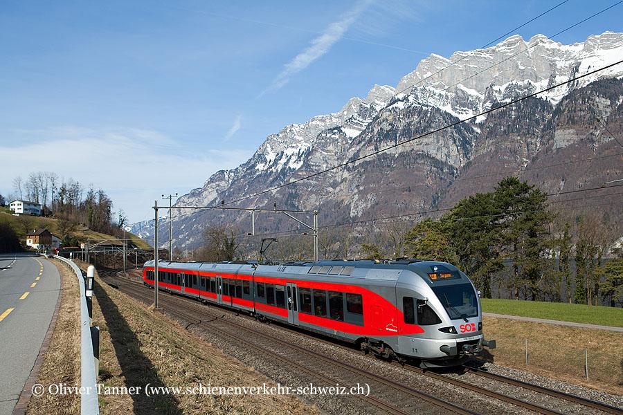 RABe 526 055 als S4 St. Gallen – Uznach – Sargans – St. Gallen (Ringzug)