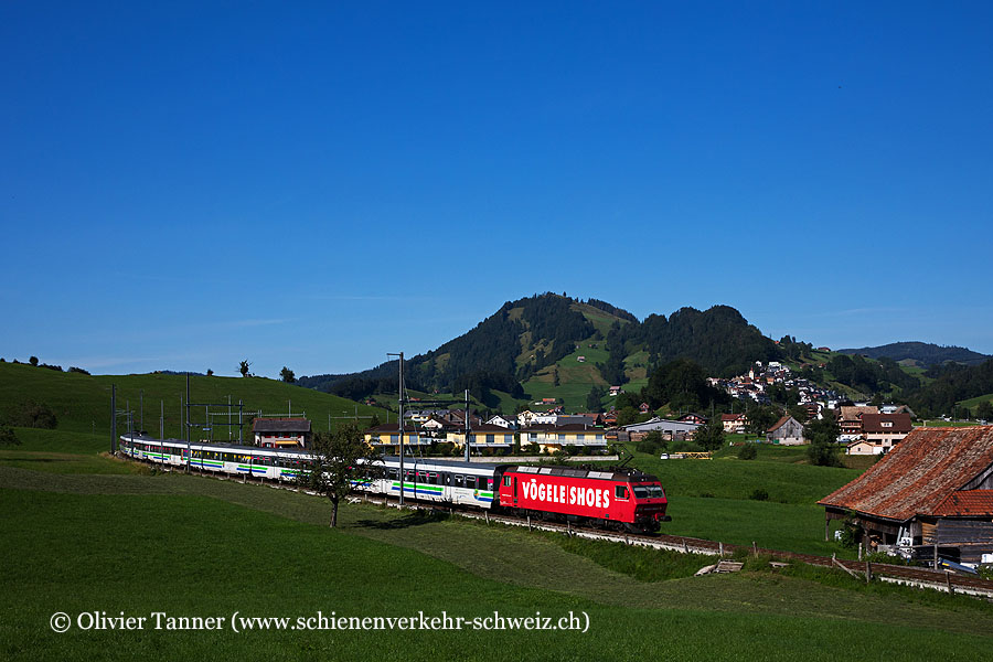 Re 456 094 ''Vögele Shoes'' und Re 456 092 ''Siemens'' mit dem Voralpen-Express St. Gallen – Luzern