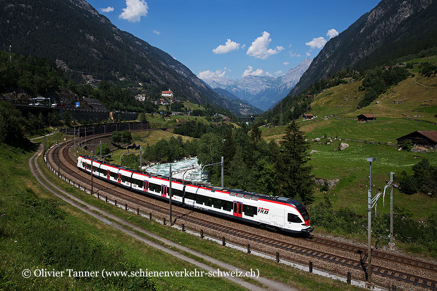 RABe 524 008 als RE Erstfeld – Göschenen – Airolo – Biasca – Bellinzona – Chiasso