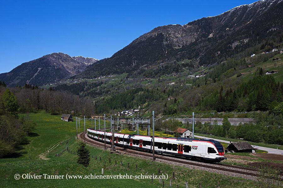 RABe 524 104 als RE Erstfeld – Göschenen – Airolo – Biasca – Bellinzona – Chiasso