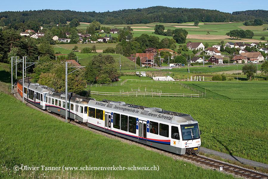Pendenlzug mit Be 4/4 27 und Be 4/4 26 als S14 Menziken – Aarau – Schöftland